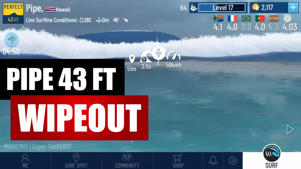 True Surf Pipeline 43 feet waves